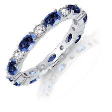 Ovale Blu Zirconi Cubici Zaffiro Eternity Accatastabile e Rotondo Trasparente
