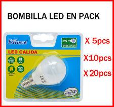 BOMBILLA LED 3W CASQUILLO PEQUEÑO E14 LUZ CALIDA 3000K PACK DE AHOORO DESDE 5 UD