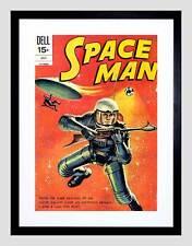 COMIC COVER SPACE MAN SCI FI ASTRONAUTS BLACK FRAMED ART PRINT PICTURE B12X6698