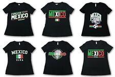 "Mexico Futbol Mundial 2018 Women Black V-neck Short Sleeve T-Shirt ""Viva Mexico"""