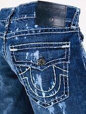 $349 Super T Geno True Religion Men Jeans 30 36 38 Blue Acid Wash Super Mega QT