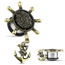 PAIR Ship Wheel w/Anchor Dangle Steel Single Flare Plugs Body Jewelry
