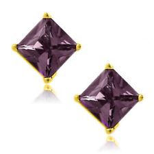 Alexandrite Square Princess Cut CZ Crystal YGP 925 Sterling Silver Stud Earrings