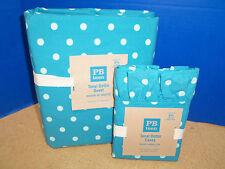 Pottery Barn Teen Tonal Dottie Duvet Cover Full Queen FQ Teal Blue Ruffle Cases