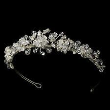 Silver Flower Swarovski Crystal Rhinestone Bridal Wedding Prom Pageant Tiara