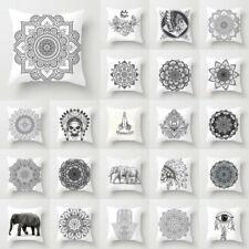 Black White Ethnic 18inch Polyester Cushion Cover Throw Pillow Case Sofa Decor