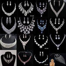 Shinning Prom Wedding Bridal Jewelry Crystal Rhinestone Necklace Earring Sets