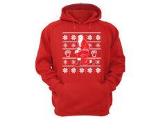 Kneeling Santa - UGLY CHRISTMAS Sweater Snowflake Dab Men Women HOODIE Red