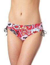 PANACHE Loren Drawside Ruched Bikini Brief 0513 Red Black Floral Sizes 8 10 NEW