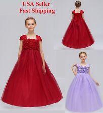 New Girls Long Maxi Flower Wedding Dress Bridesmaid Evening Formal Pageant K96