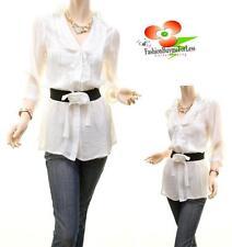 Crepe Chiffon Faux Silk Pleated Ruffle Belted Peasant Tunic Blouse Shirt Top