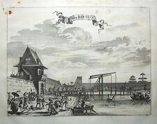 JAKARTA NEW GATE, JAVA, INDONESIA, J.CHURCHILL original antique print 1744.
