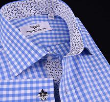 Mens Blue Formal Business Dress Shirt Classic Gingham Check Wrinkle Free Checker