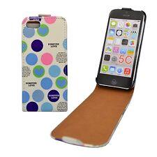 Carcasa Blanco Lujosas Círculos Diseño Deslizable Cuero de Pu Apple Iphone 5C