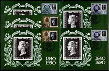 150 Jahre Briefmarken. 5 Maximumkarten. UdSSR 1990