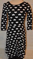 Women's Rue 21 Black White Hearts Scoop Back Bowtie 3/4 Sleeve Flare Dress S, L