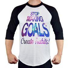 Men's Galaxy Create Habits Raglan Baseball T-Shirt Fit Workout Gym Beast Tee B21