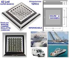 PLAFONIERA LAMPADA a 42 LED BIANCHI 12V 5W Cm.12x12 per BARCA CAMPER e ROULOTTE