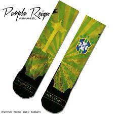 "NIKE RETRO JORDAN VI 6 ""BRAZIL"" Custom Premium Socks (ALL SZ) WORLD CUP"