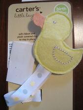 New NWT Carter Boy Girl Yellow Duck Polka Dot Ribbon Pacifier Clip
