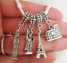 4PC Travel New York London Paris Rome Bracelet necklace Charm pendant -European