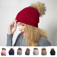 Womens Winter Warm Cashmere Knit Real Fur Pom Pom Fur Beanies Stretchy Hat A392
