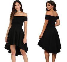 Black Evening Skirt Dress Ladies Off Shoulder Flared Swing Skater 8 10 12 14