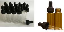 10ml Amber or Clear Glass Bottle Ear Eye Drops Pipette Aromatherapy Empty UK