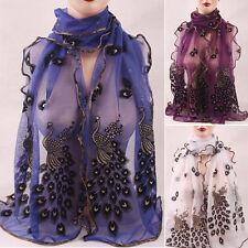Women Peacock Scarfs Long Soft Scarf Wraps Scarves Vintage Stylish Shawl YF