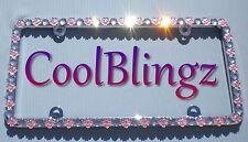 BIG Clear Crystal Rhinestone & Lt Pink Flowers Sparkle Bling License Plate Frame