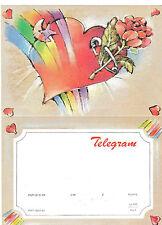 TELEGRAMME POLOGNE  1991 ROSE COEUR ARC EN CIEL