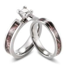 Titanium Brwon Outdoor Camo Ring CZ  setting engagement wedding ring set-2pcs