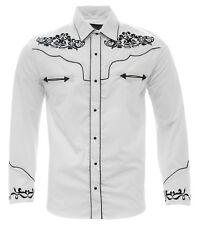 Men's Charro Shirt Camisa Vaquera El General Western Wear White/Black