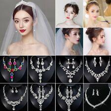Elegant Rinestone Bridal Bride Crystal Wedding Jewelry Set Necklace Earrings Hot