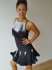 STRETCHY OPEN BACK LATIN / SALSA DRESS WITH BLACK WHITE SHADED FRINGE