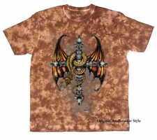 Camiseta Batik marrón Gótico Sudaca motivo de tatuaje y motorista Modelo Dragon