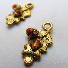 Acorn Charms - Wholesale Autumn Gold Plated Enamel Pendants C0887 - 5, 10, 20PCs