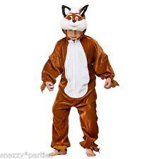 KIDS FANTASTIC FOX WILD ANIMAL FANCY DRESS COSTUME JUMPSUIT ONESIE BOOK WEEK DAY