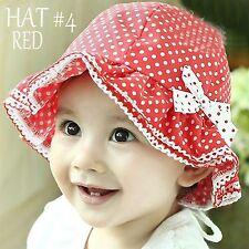 "Bucket Hat Polka Dot Cotton SUN Bonnet Baby Girls/Toddler Pink/Red/Rose ""Dr CAP"""