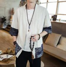 Chinese Men's Kimono Shirt Loose Jacket Tie Waist Robe Vintage  linen Coat X898