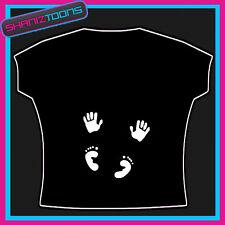Mamá para ser Baby Manos Pies estampado en blanco Camiseta