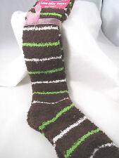Slipper Fuzzy Knee High Socks Striped Womens 9-11 Brown White Green Cozy Warm B