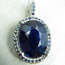 8.55cts Natural dark blue kyanite Silver 9ct 14k 18k yellow white Gold pendant