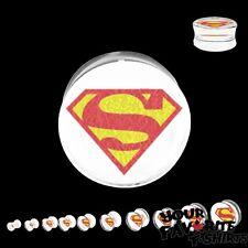 "Superman Symbol Body Jewelry Acrylic Clear Plugs 2G 0G 00G 7/16 1/2 9/16 5/8 1"""