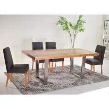 Solid Blackbutt Dining Table - Stainless Steel Leg