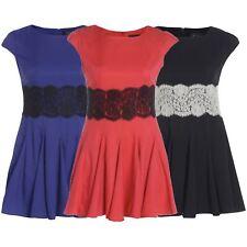 Ladies Plus Size Cap Sleeve Pleated Lace Waist Flared Mini Skater Swing Dress
