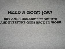 T-SHIRT NEED A GOOD JOB? BUY AMERICAN Unisex Men Dark Ash Gray Blend Tee U.S.A.