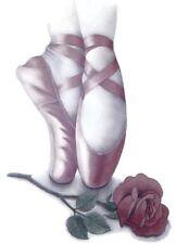 Pink Ballerina - Ballet Slippers Shirt, with Rose, ballerina gifts, sz small