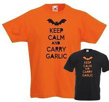 KEEP CALM AND CARRY GARLIC T-SHIRT - HALLOWEEN BAT SPOOKY FUNNY ORANGE BLACK