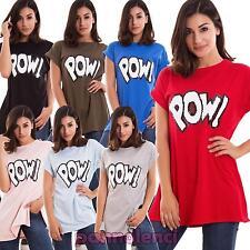 Maglia donna maxi maglietta t-shirt spacchi lunga paillettes nuova CJ-2217